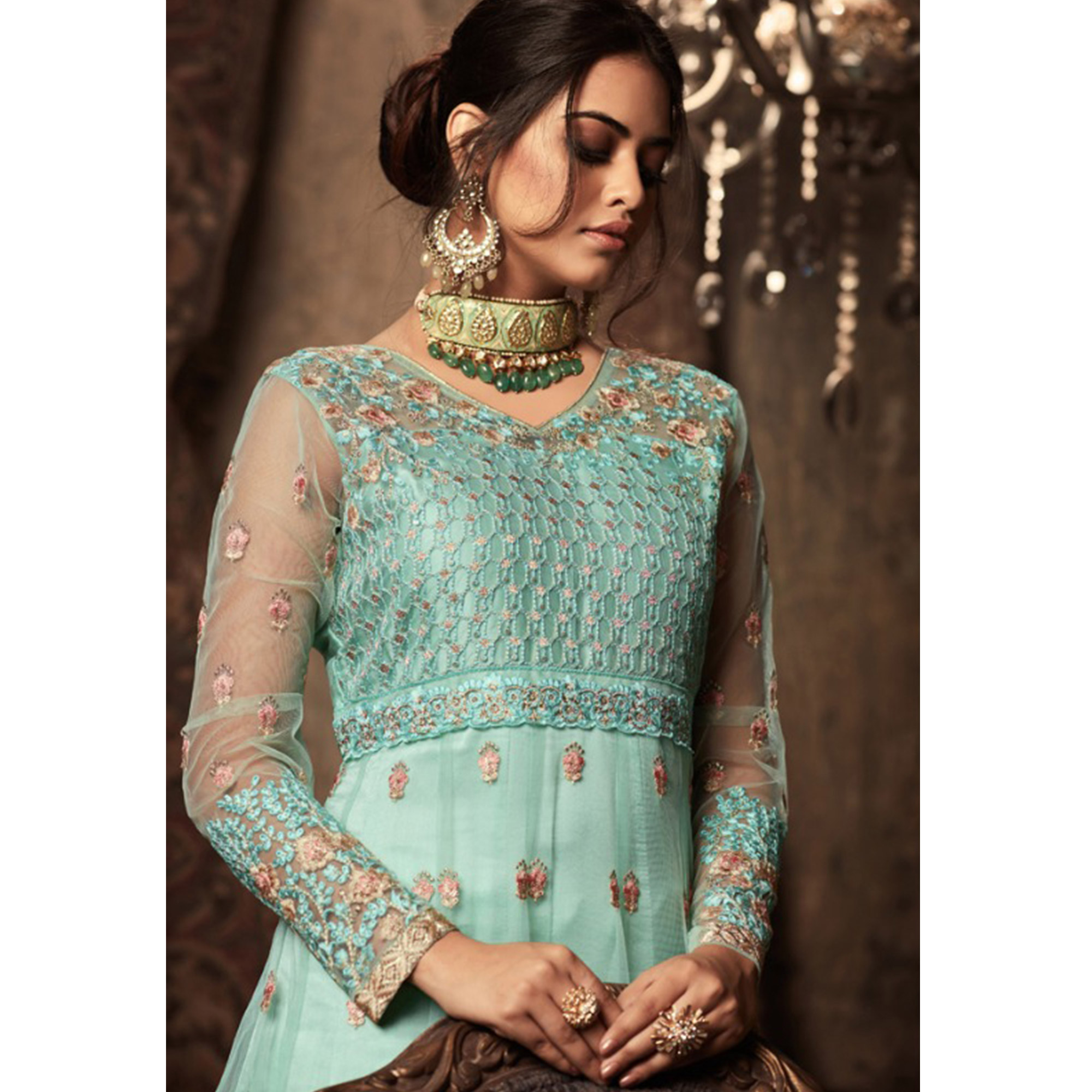 Demanding Aqua Green Colored Embroidered Heavy Net Abaya Style Anarkali Suit