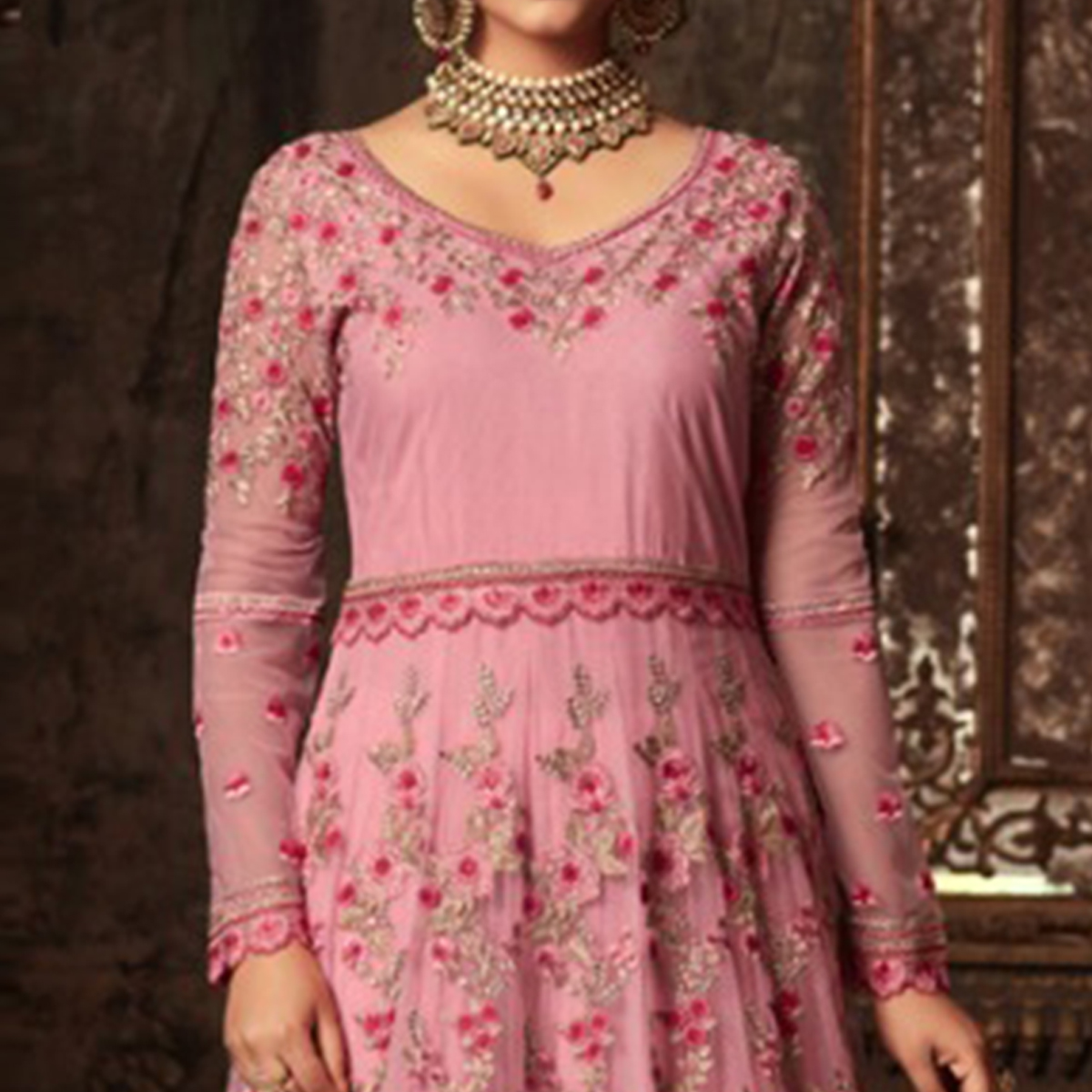 Pleasant Pink Colored Embroidered Heavy Net Abaya Style Anarkali Suit