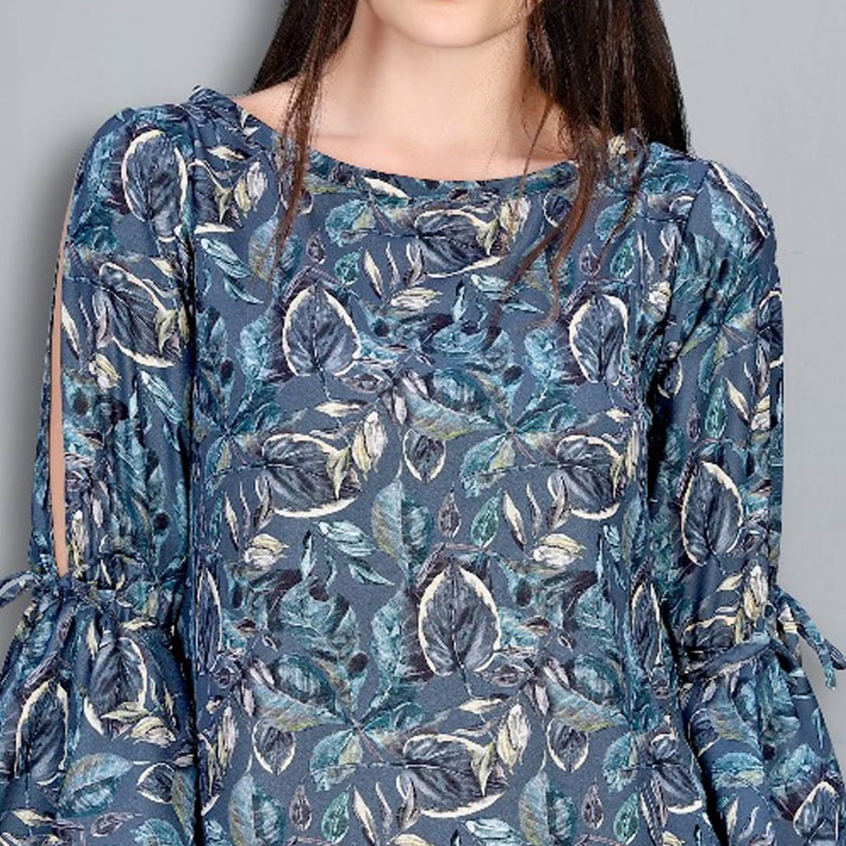 Ravishing Blue Colored Digital Printed Fancy Cotton Top