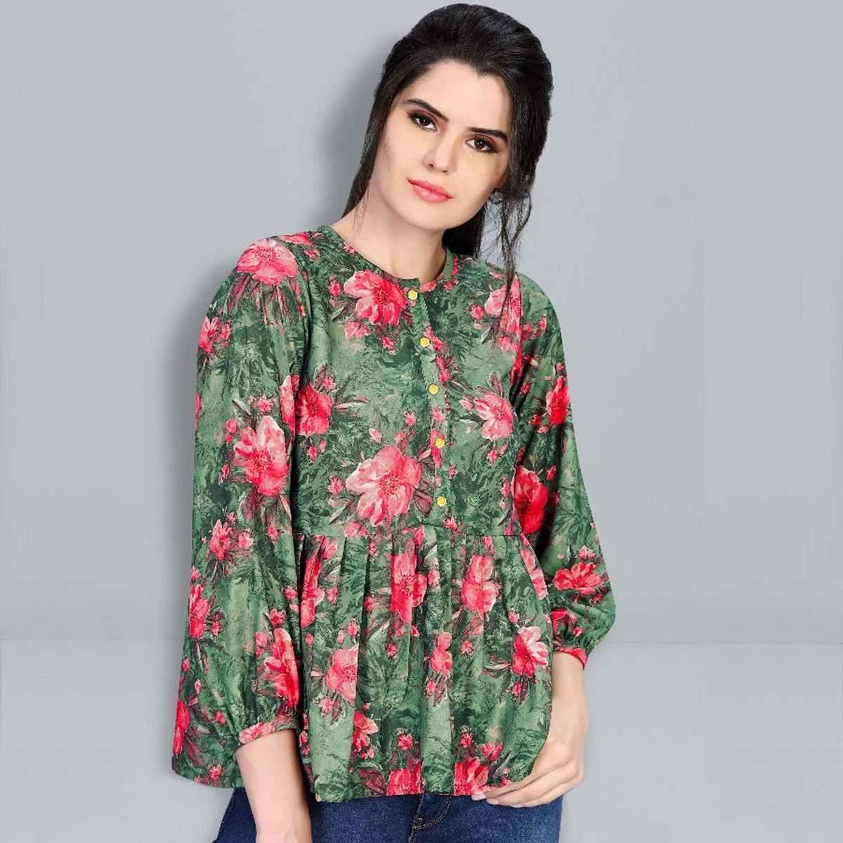 Delightful Green Colored Digital Printed Fancy Cotton Top