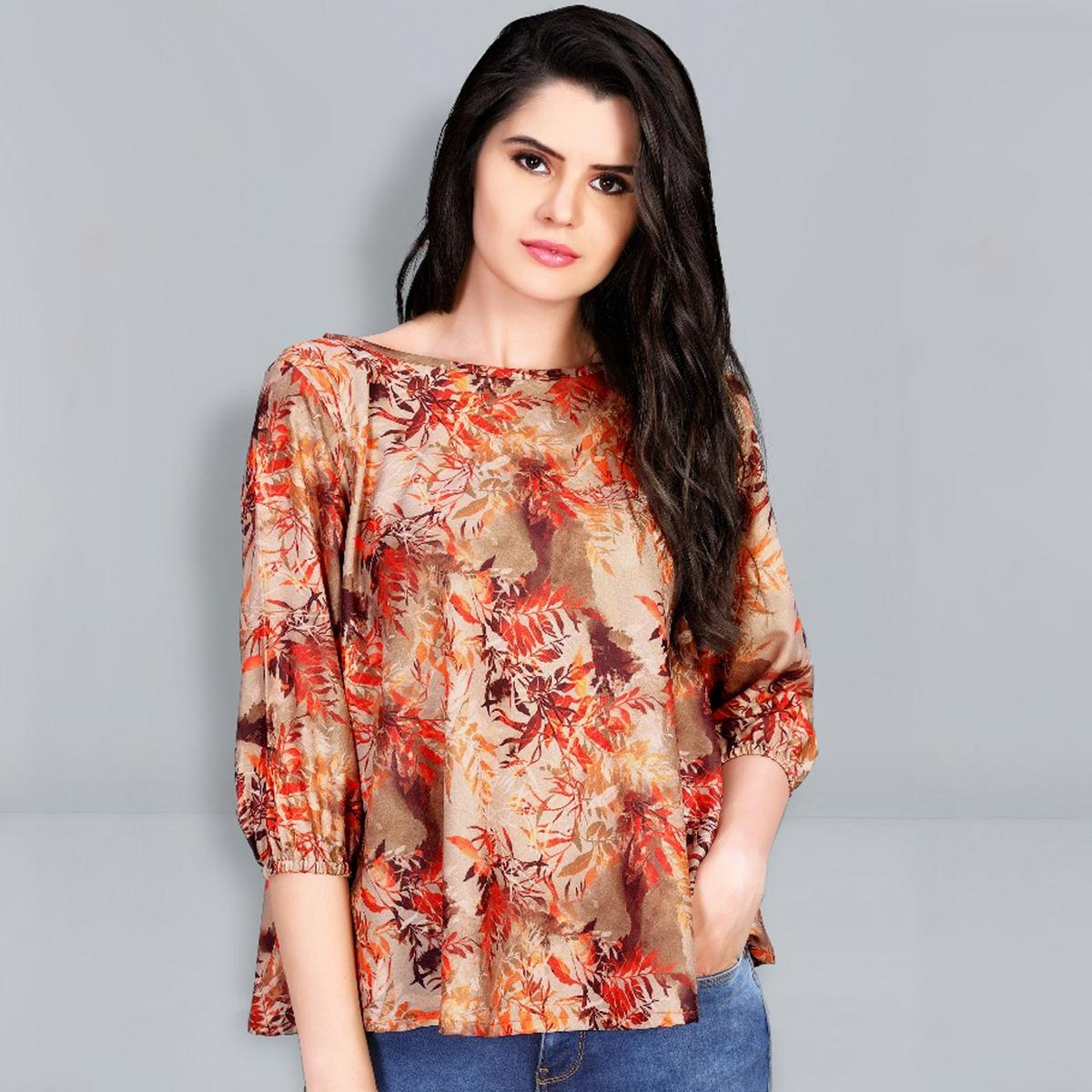 Stunning Peach - Orange Colored Digital Printed Fancy Cotton Top