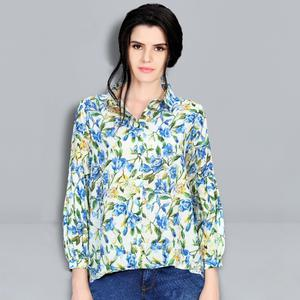 Blooming White Colored Digital Printed Fancy Cotton Top
