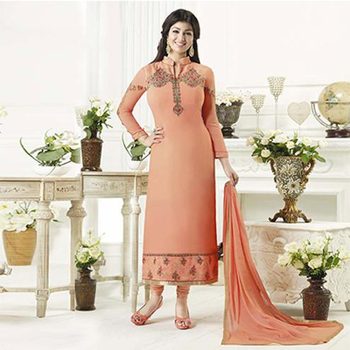Stylish Peach Designer Embroidered Georgette Salwar Suit