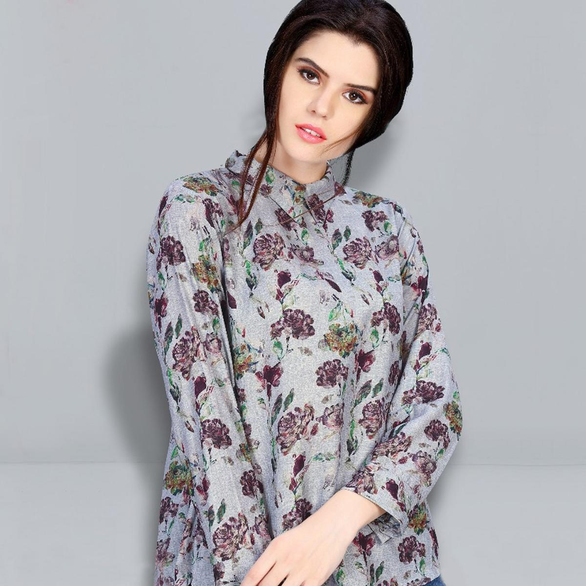 Mesmerising Grey Colored Digital Printed Fancy Cotton Top