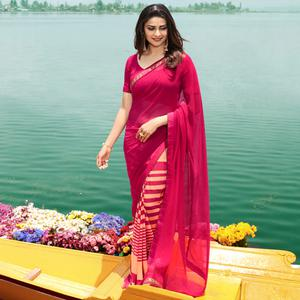 Jazzy Pink Colored Casual Wear Printed Georgette Half & Half Saree