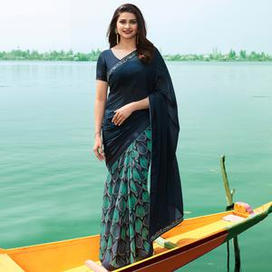 Appealing Blue Colored Casual Wear Printed Georgette Half & Half Saree