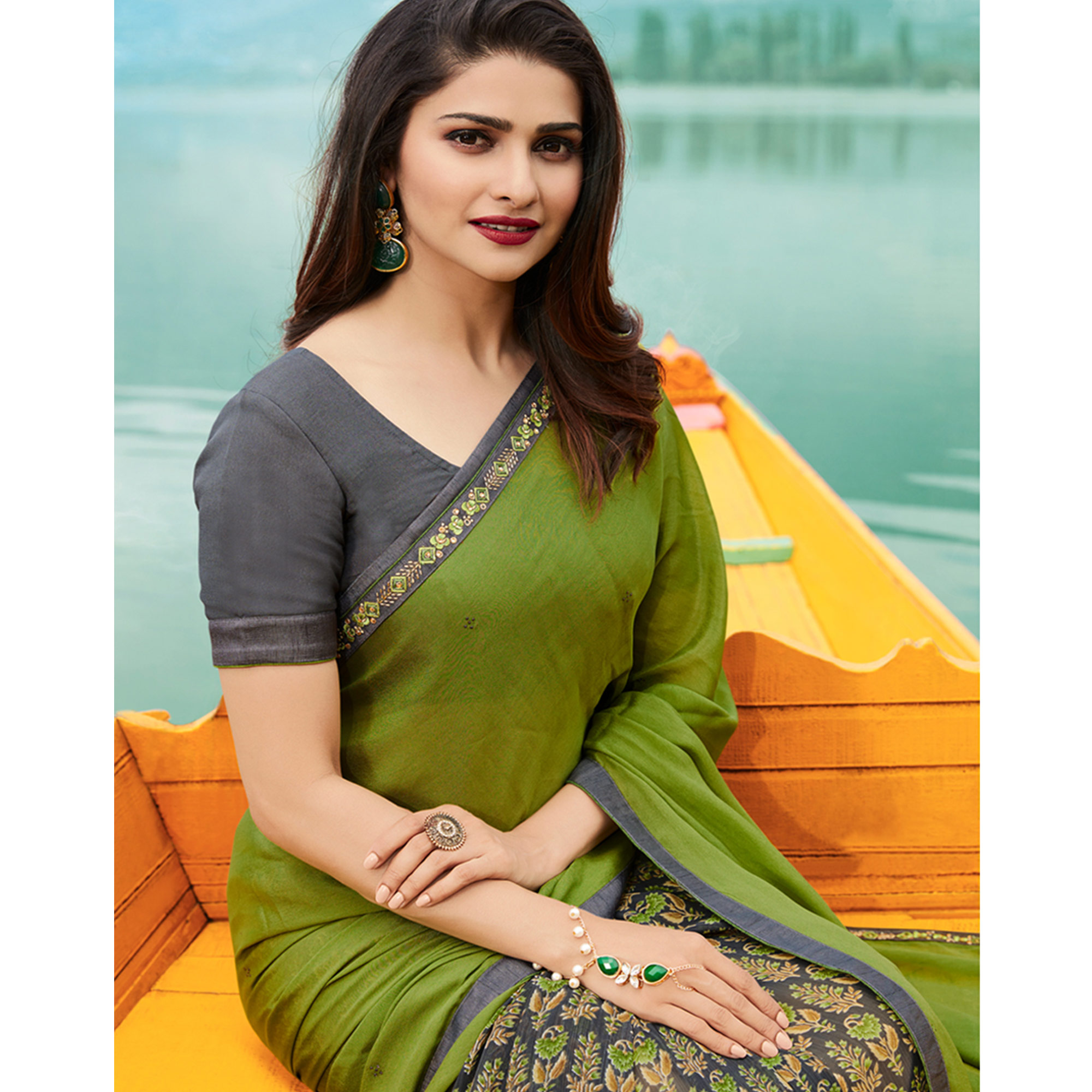 Adorable Olive Green Colored Casual Wear Printed Georgette Half & Half Saree