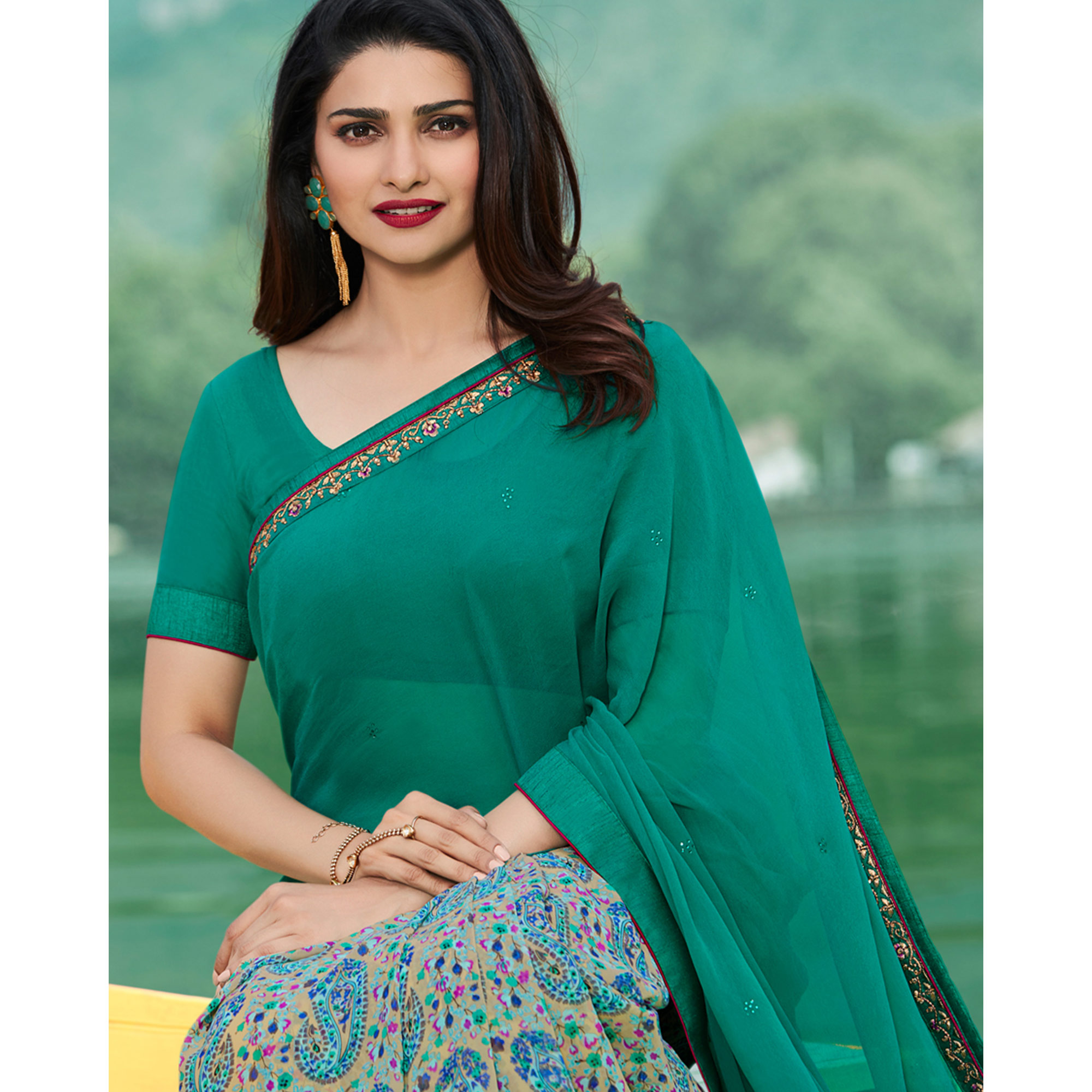 Attractive Turquoise  Colored Casual Wear Printed Georgette Half & Half Saree