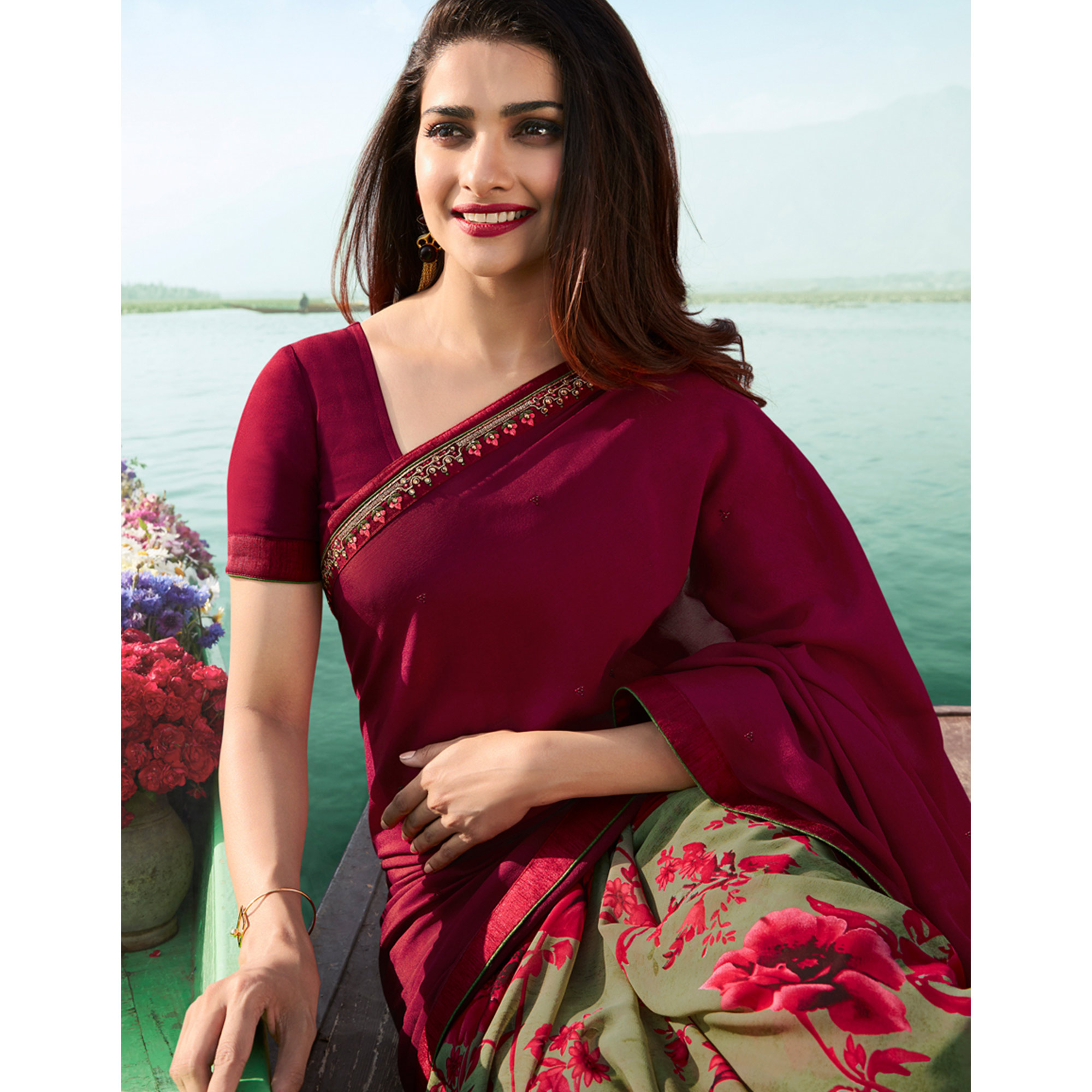 Beautiful Maroon Colored Casual Wear Printed Georgette Half & Half Saree