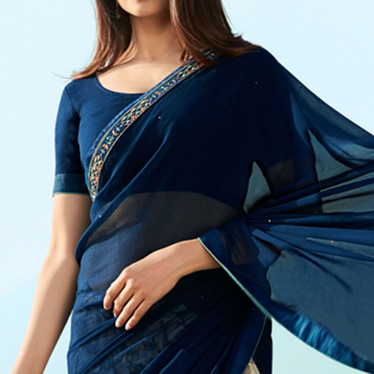 Gorgeous Navy Blue Colored Casual Wear Printed Georgette Half & Half Saree