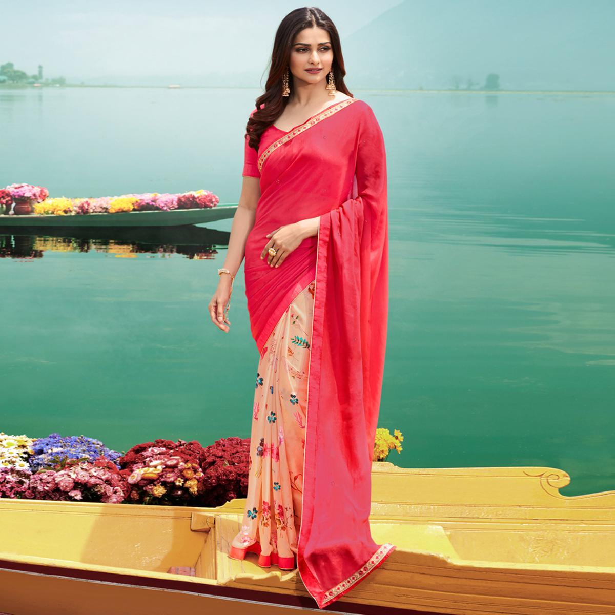 Classy Pink Colored Casual Wear Printed Georgette Half & Half Saree