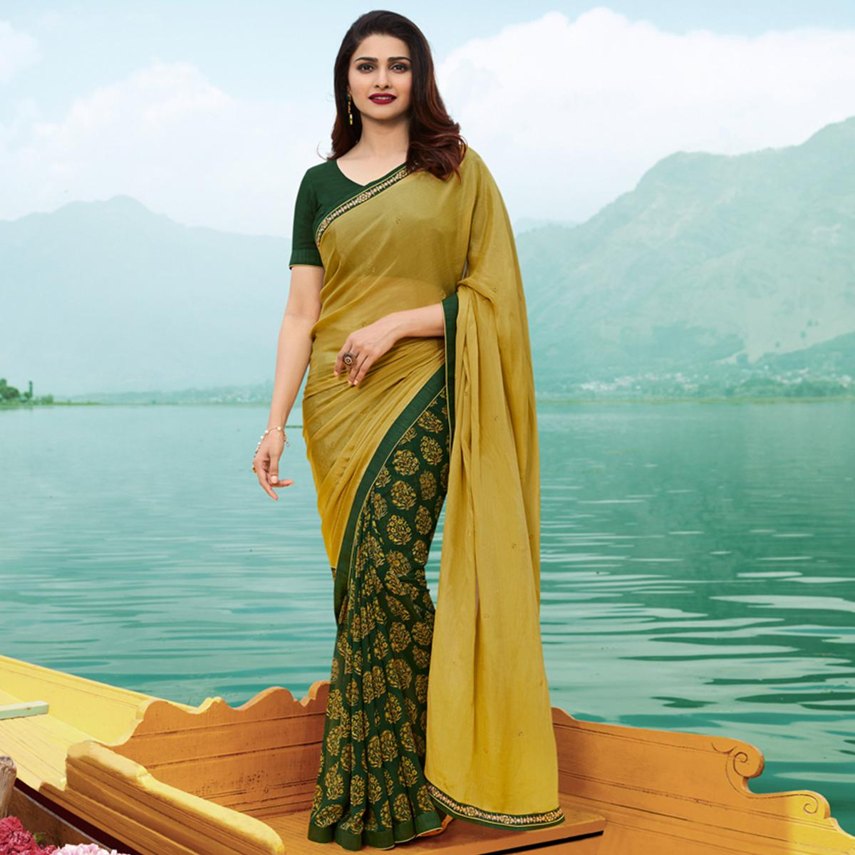 Glowing Light Olive Green Colored Casual Wear Printed Georgette Half & Half Saree