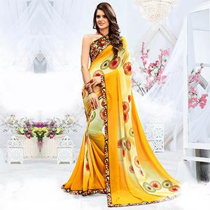 Classy Shaded Yellow Georgette Printed Saree