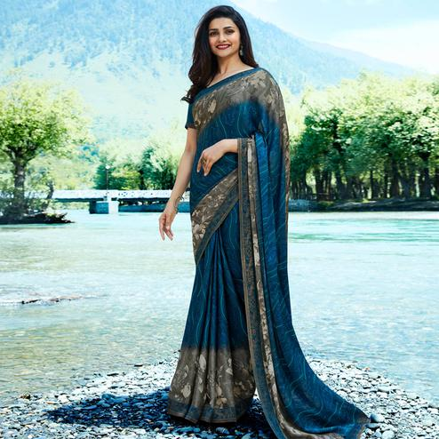 Elegant Blue - Grey Colored Casual Wear Printed Georgette Saree