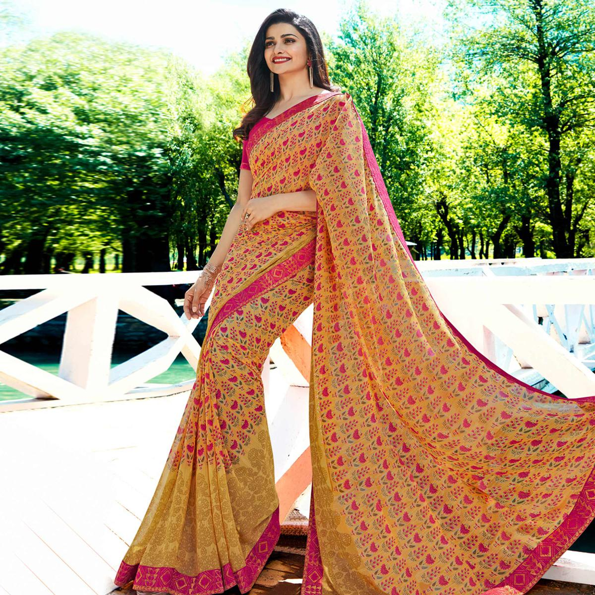Alluring Yellow Colored Casual Wear Printed Georgette Saree