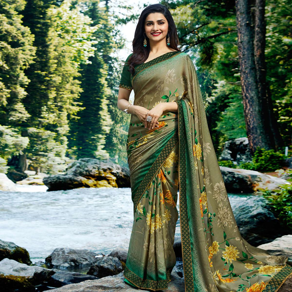Radiant Olive Green Colored Casual Wear Printed Georgette Saree