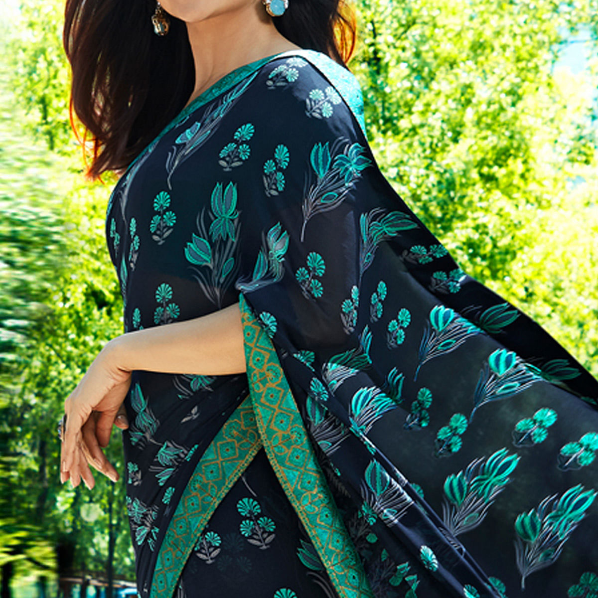 Opulent Blue Colored Casual Wear Printed Georgette Saree