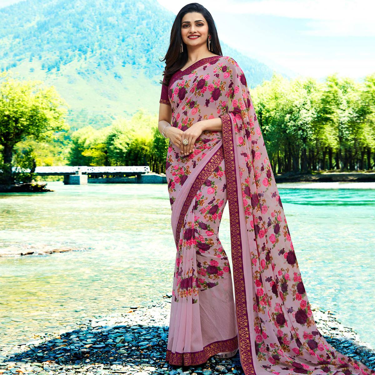 Dazzling Lavender Colored Casual Wear Printed Georgette Saree