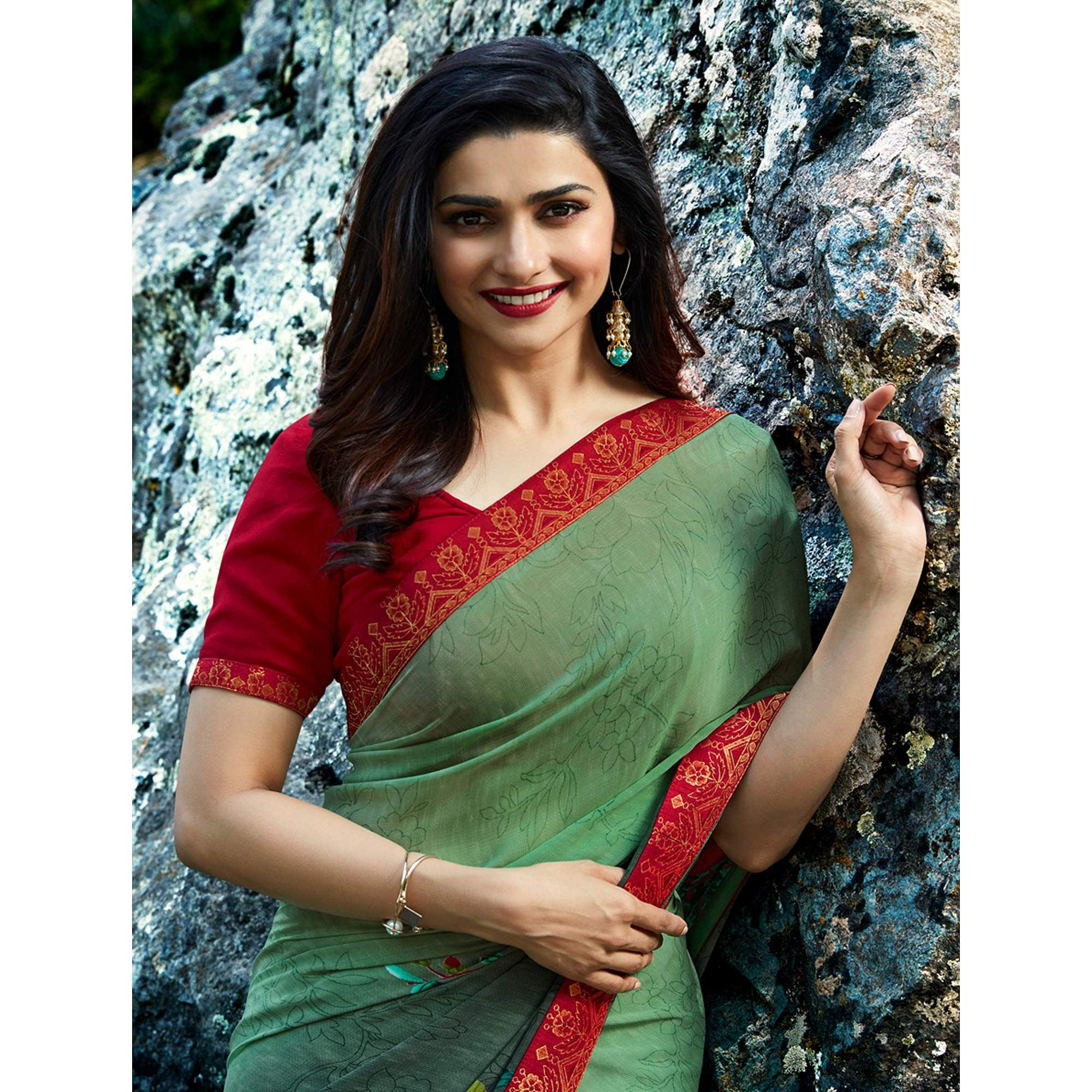 Flattering Green Colored Casual Wear Printed Georgette Saree