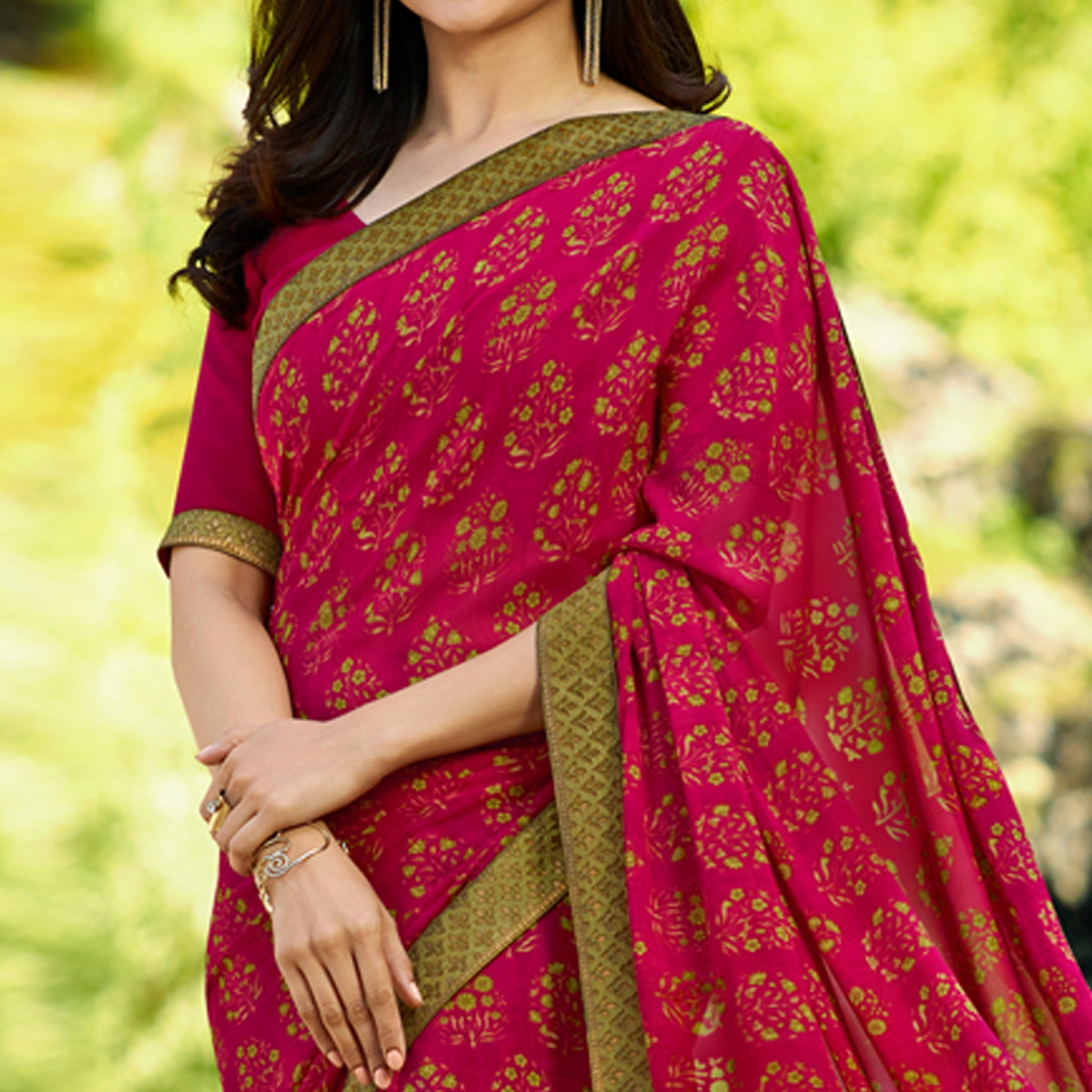 Breathtaking Pink Colored Casual Wear Printed Georgette Saree