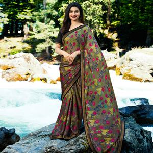 Impressive Green Colored Casual Wear Printed Georgette Saree
