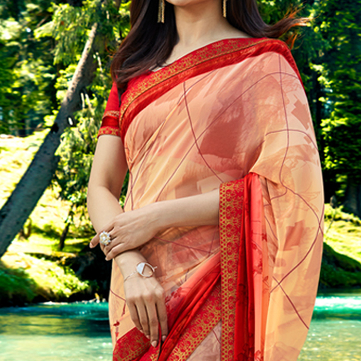Innovative Peach Colored Casual Wear Printed Georgette Saree