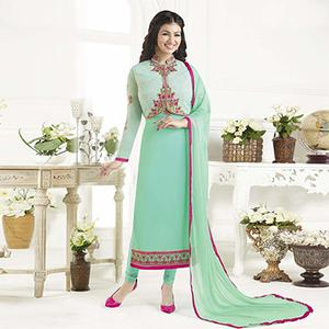 Turquoise Party Wear Embroidered Designer Salwar Suit