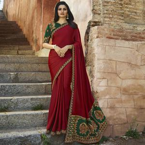 Arresting Maroon Colored Partywear Embroidered Silk Saree