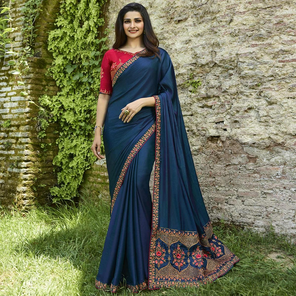 Exceptional Blue Colored Partywear Embroidered Art Silk Saree
