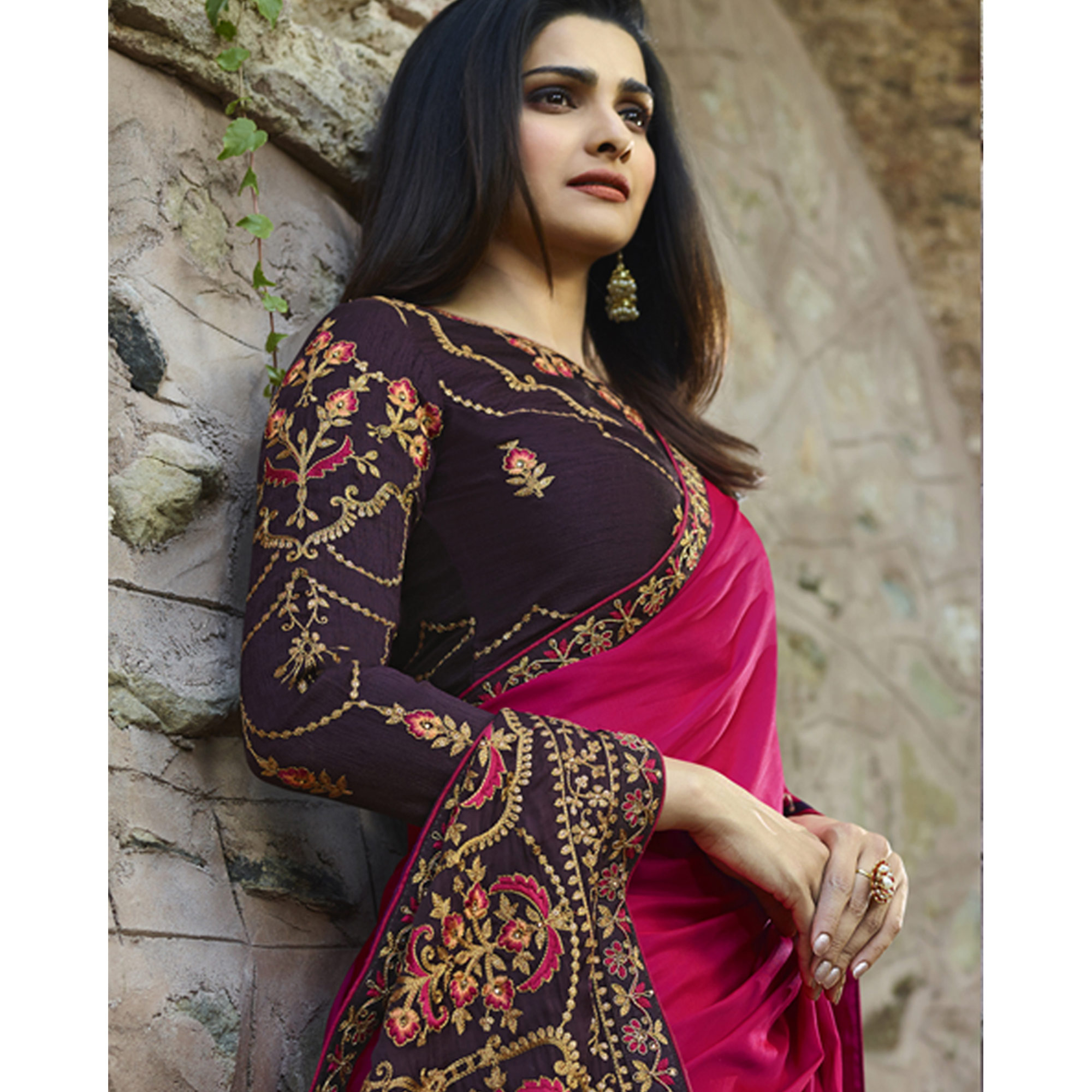 Excellent Deep Pink Colored Partywear Embroidered Silk Saree