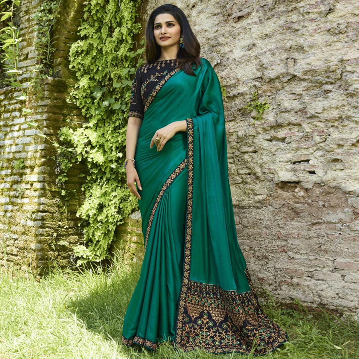 Ethnic Teal Green Colored Partywear Embroidered Silk Saree