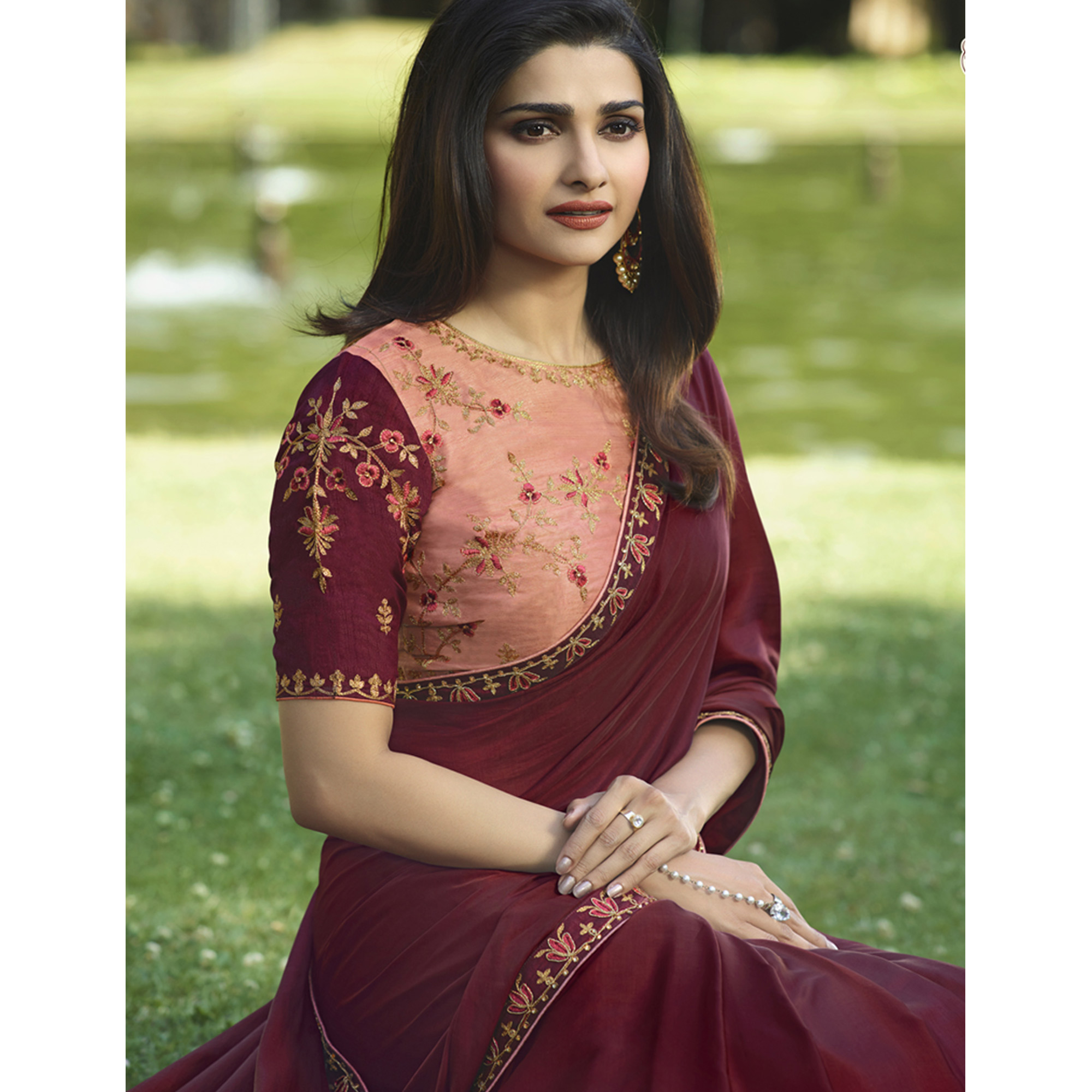 Starring Wine Colored Partywear Embroidered Silk Saree