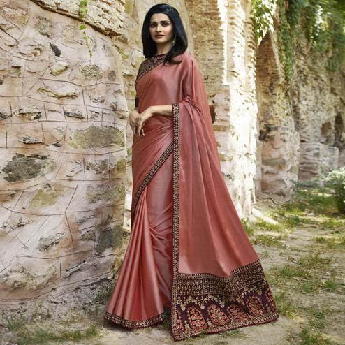 Entrancing Rose Pink Colored Partywear Embroidered Art Silk Saree