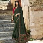 Imposing Mehendi Green Colored Partywear Embroidered Art Silk Saree