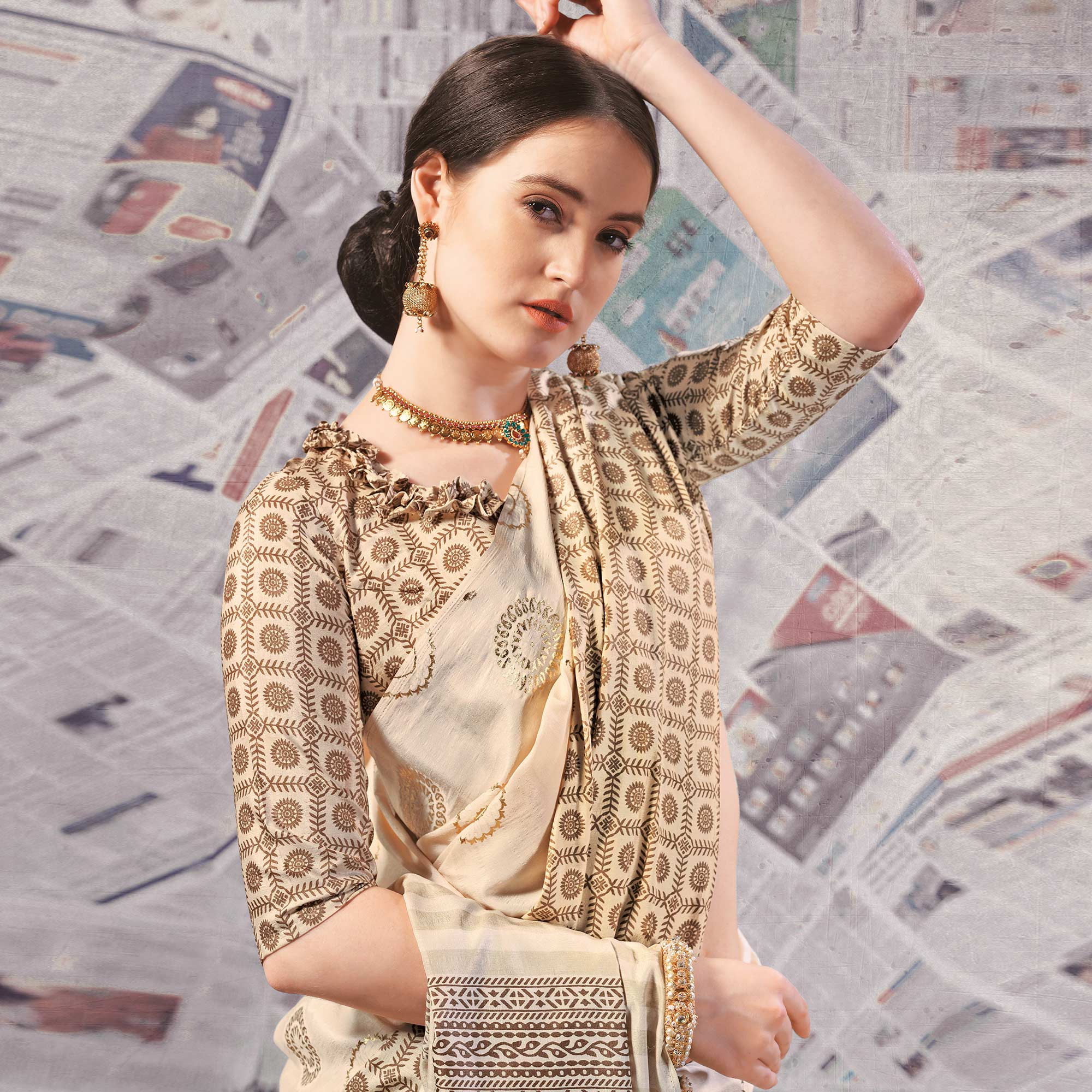Intricate Cream - Brown Colored Casual Wear Printed Silk Saree