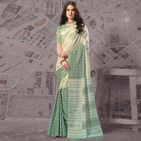 Desirable Cream - Green Colored Casual Wear Printed Silk Saree