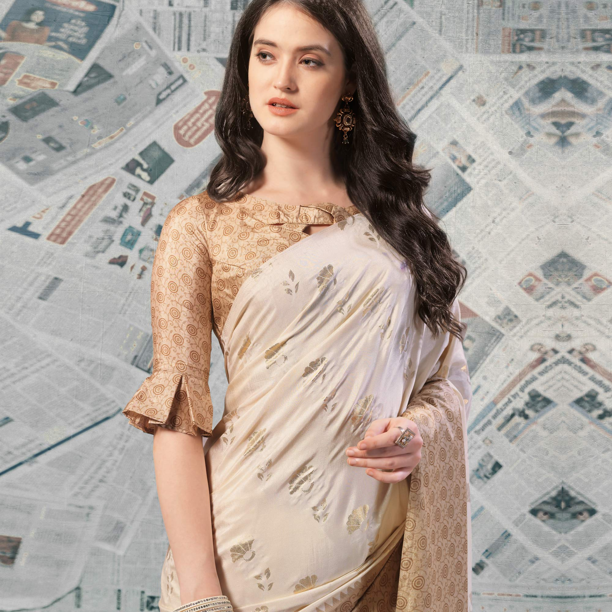 Demanding Cream -Beige Colored Casual Wear Printed Silk Saree