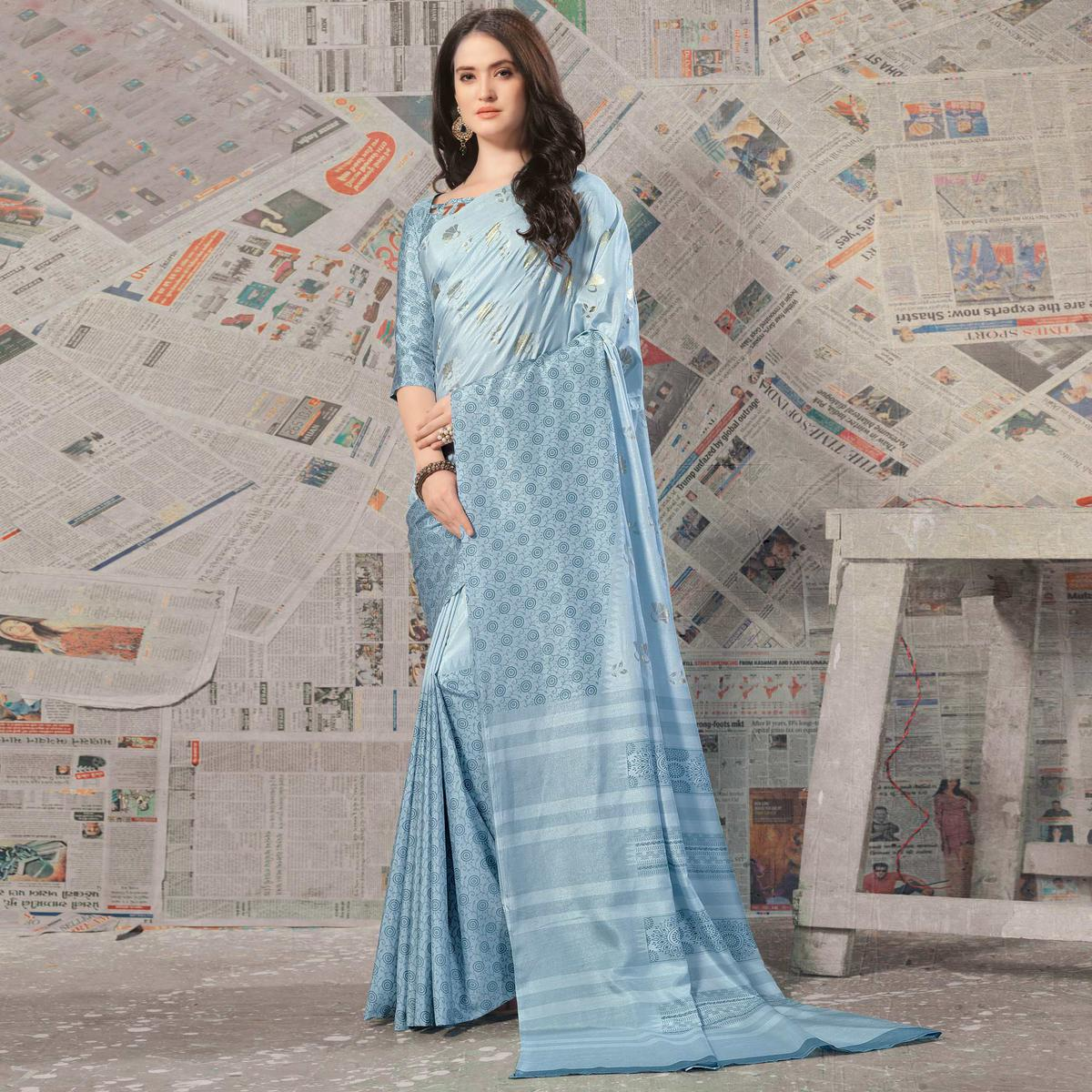 Pleasant Light Sky Blue Colored Casual Wear Printed Silk Saree