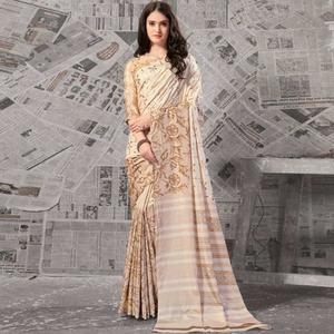 Unique Cream - Beige Colored Casual Wear Printed Silk Saree