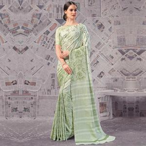 Refreshing Light Olive Green Colored Casual Wear Printed Silk Saree