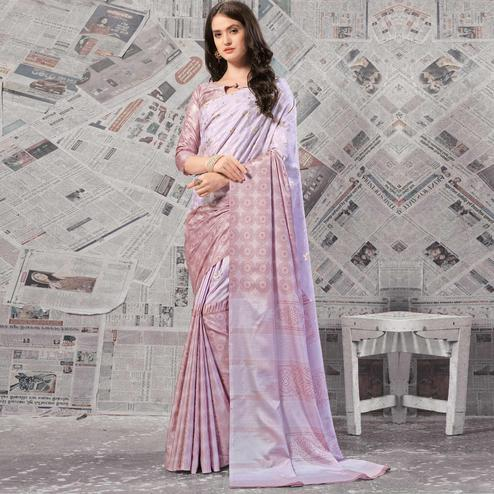 Elegant Lavender Colored Casual Wear Printed Silk Saree