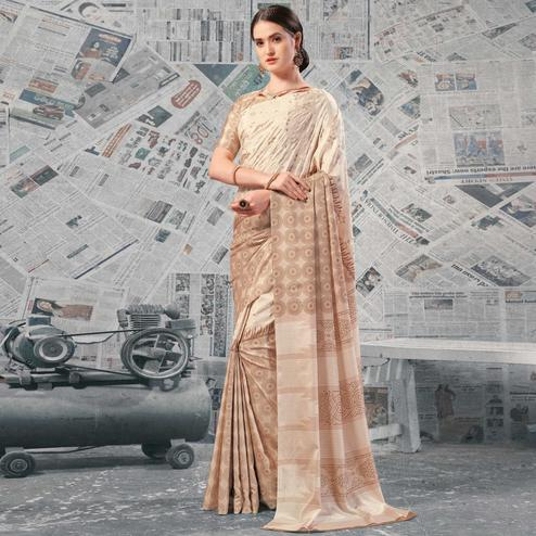 Alluring Beige Colored Casual Wear Printed Silk Saree