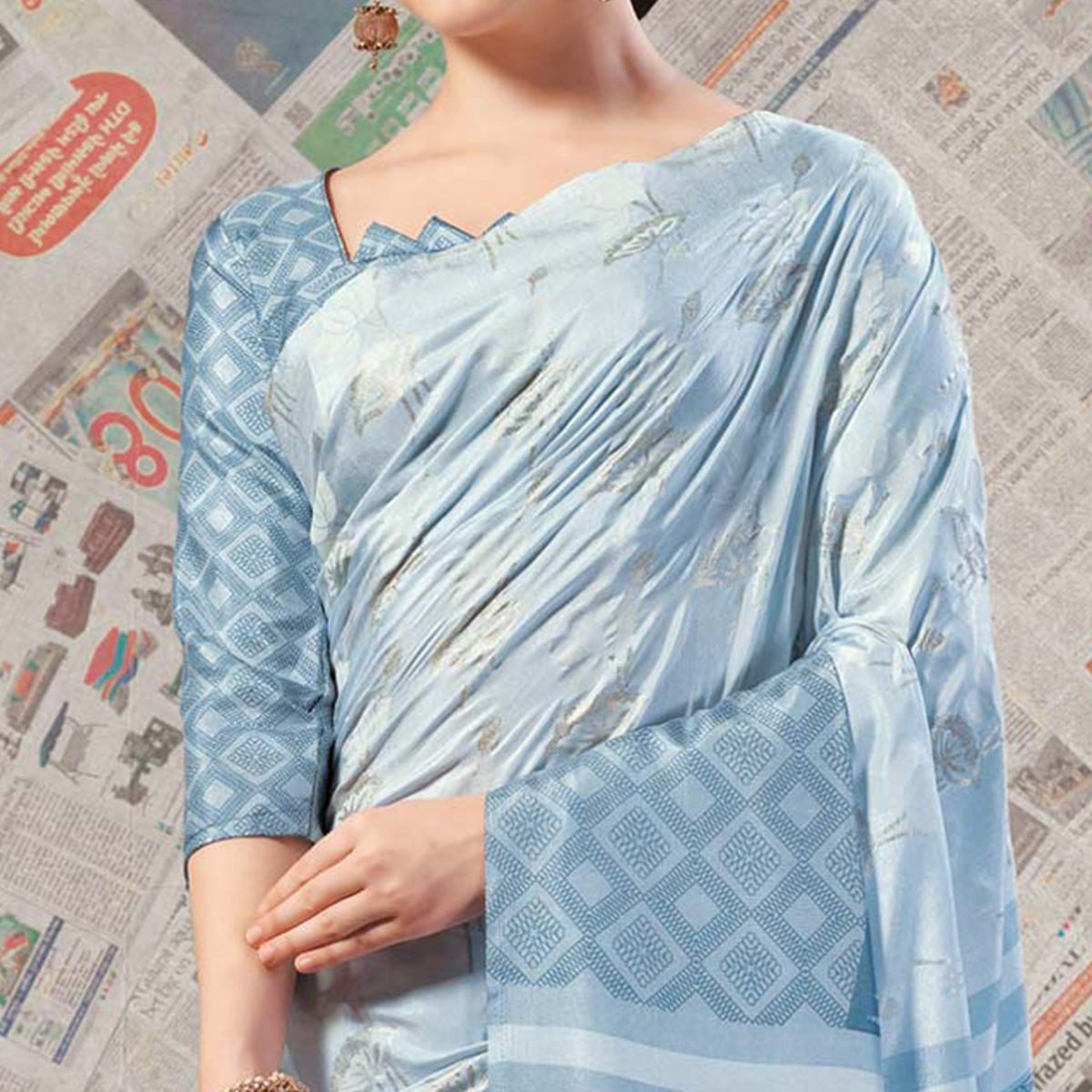 Radiant Light Sky Blue Colored Casual Wear Printed Silk Saree