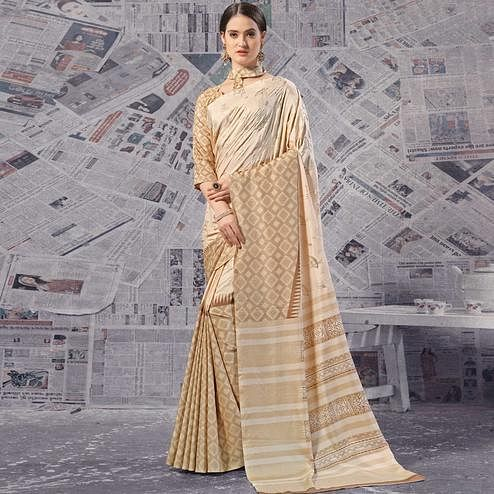Sensational Beige Colored Casual Wear Printed Silk Saree