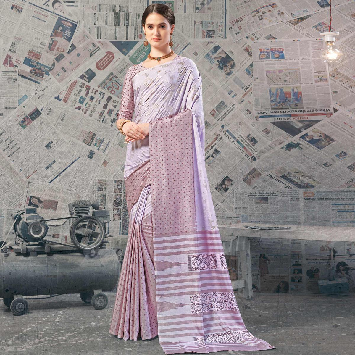 Gorgeous Lavender Colored Casual Wear Printed Silk Saree