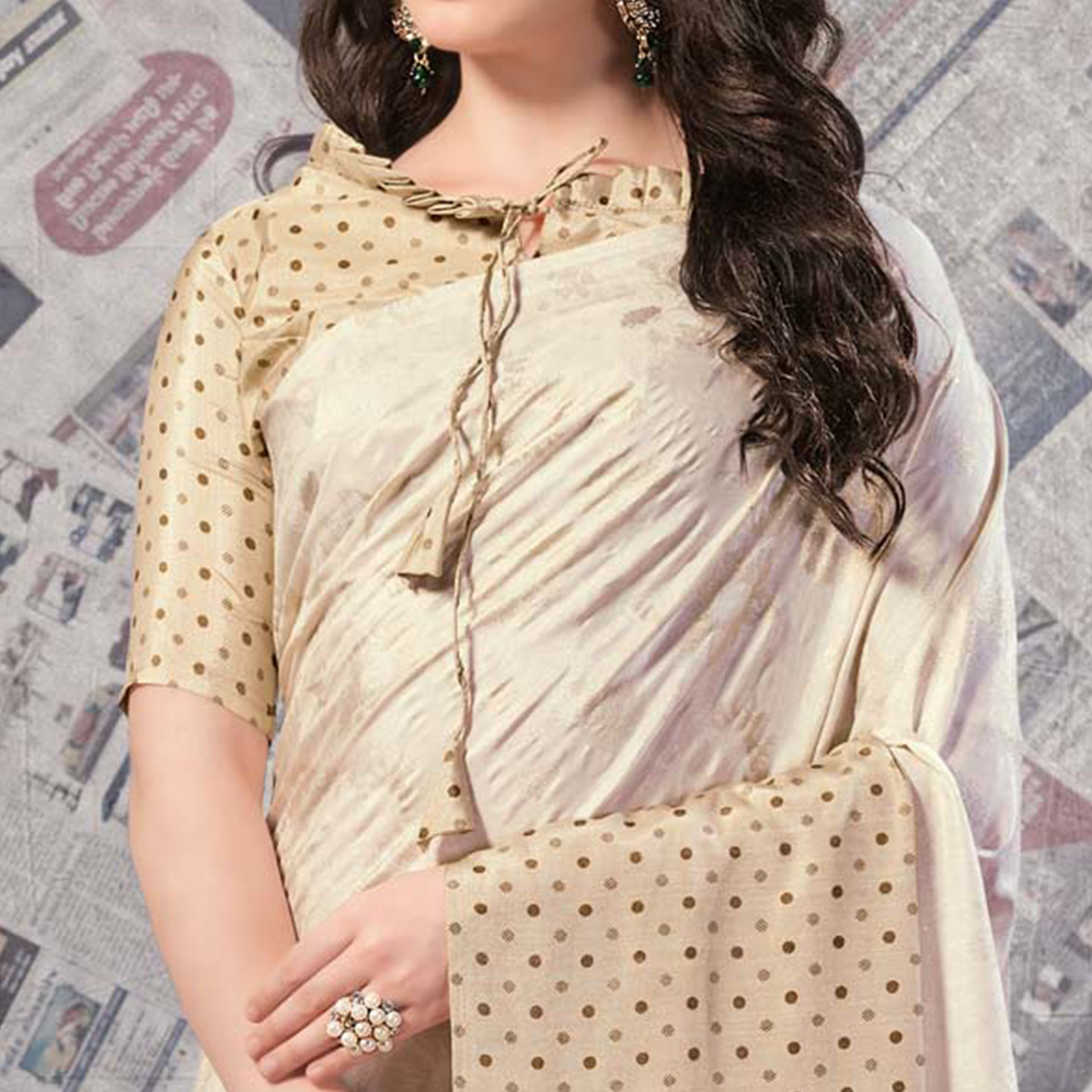 Glorious Cream - Beige Colored Casual Wear Printed Silk Saree