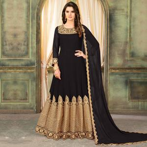 Intricate Black Colored Partywear Embroidered Georgette Anarkali Suit