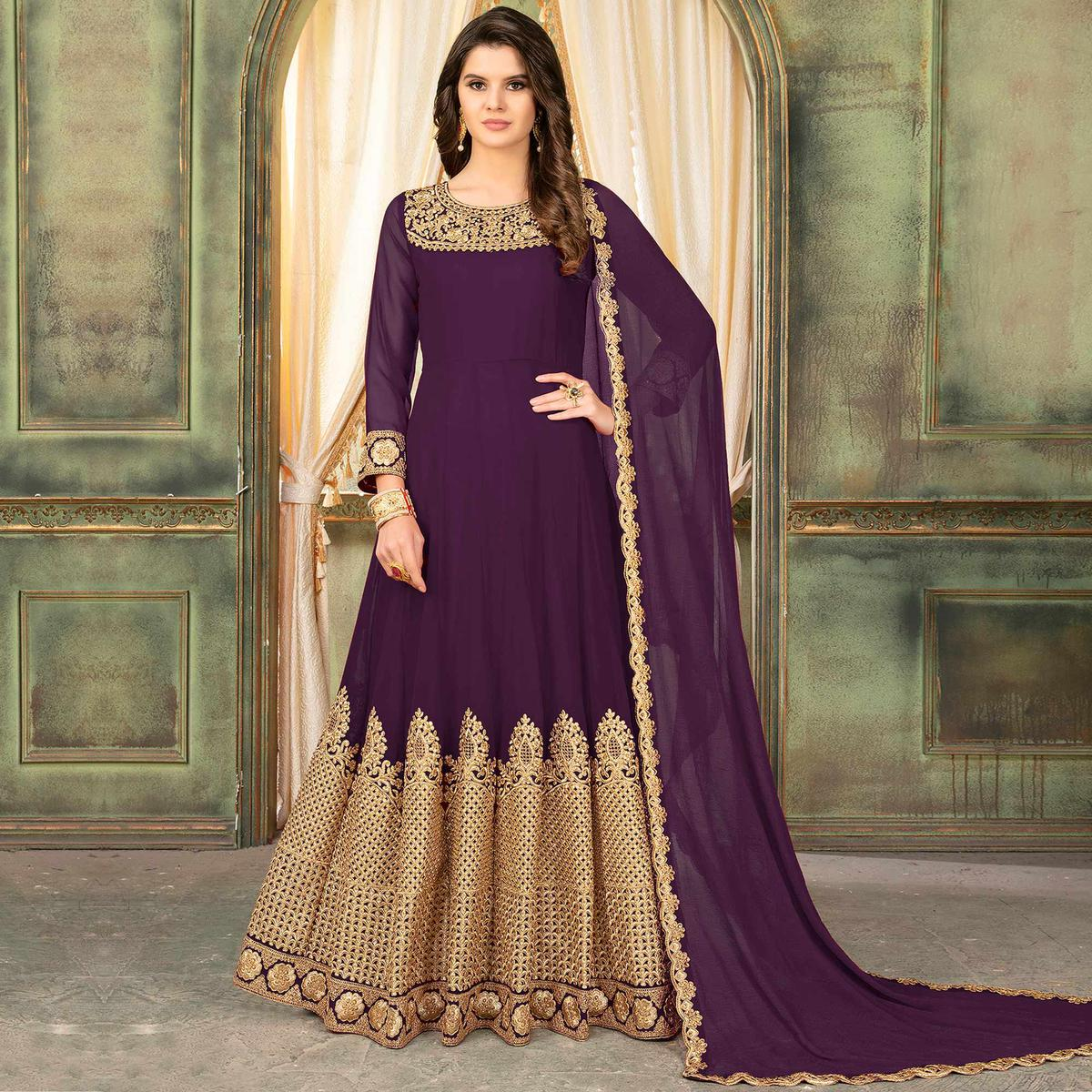 Desirable Purple Colored Partywear Embroidered Georgette Anarkali Suit