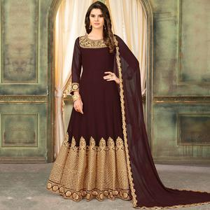 Sophisticated Brown Colored Partywear Embroidered Georgette Anarkali Suit