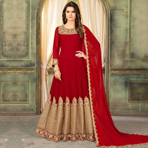 Pleasant Red Colored Partywear Embroidered Georgette Anarkali Suit